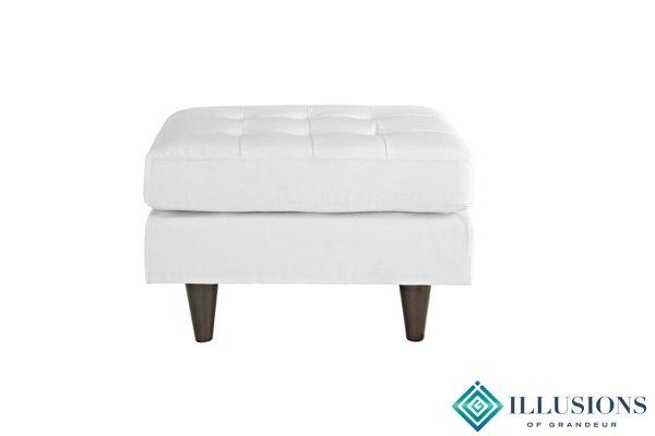 White Leather Ottomans