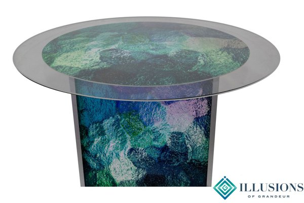 Illuminated Abstract Blue/Green Dining Tables ~large