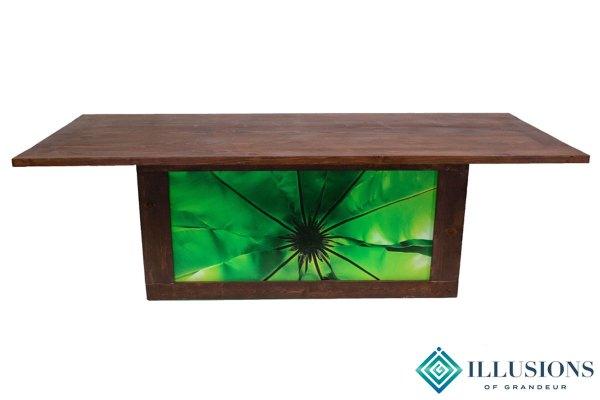 Illuminated Redwood Dining Tables with Leaf Images