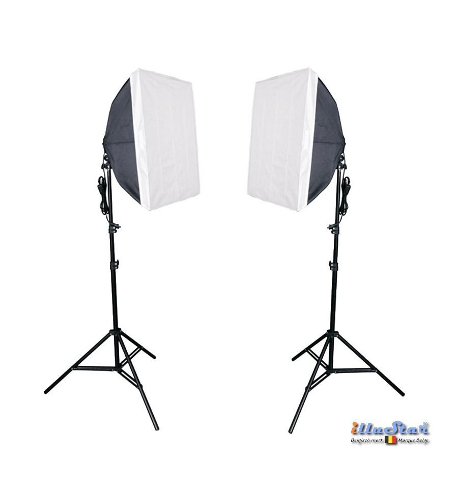 kit eclairage continu studio 2x lampe avec boite a lumiere 50 70cm 8x 36w lampe fluorescente 2x trepied 190cm illustar