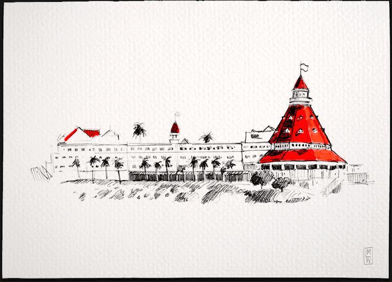 Creative Wedding Illustration of the Hotel Del Coronado