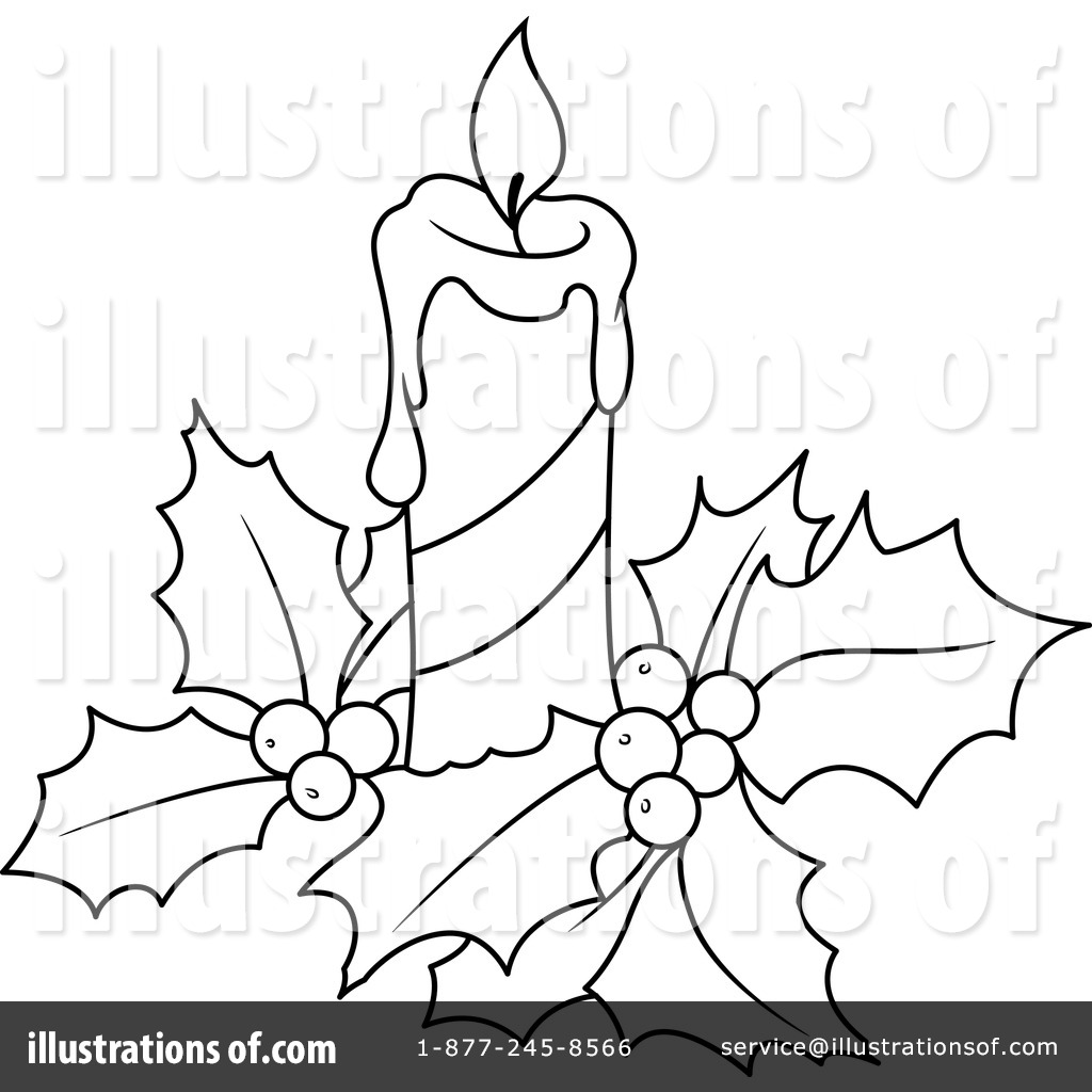 Candle With Holly Coloring Page