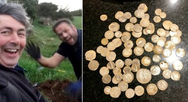 He loses his wedding ring in a field, searches for it with a metal detector and finds a treasure from the 1500s