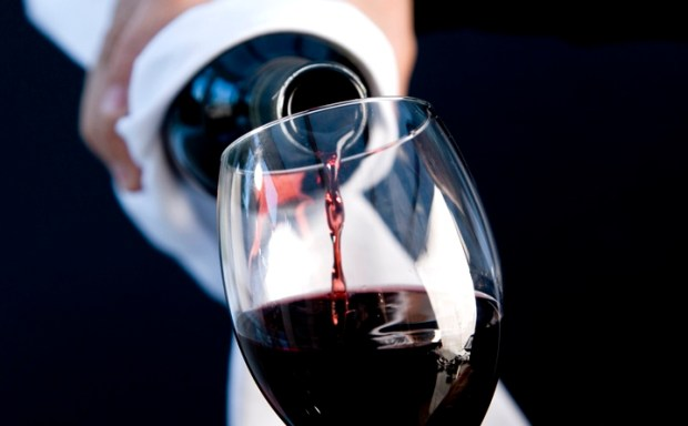 Close up of a waiter hands holding a bottle and pouring red wine in a glass