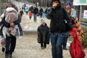 On 20 February 2016, refugees from Afghanistan walk towards the Tabanovce reception centre for refugees in the former Yugoslav Republic of Macedonia after being refused entry into Serbia. Hundreds of Afghan refugees, including children and women, are stuck in freezing conditions in Tabanovce in the former Yugoslav Republic of Macedonian as border changes in the Balkan region create confusion and chaos.