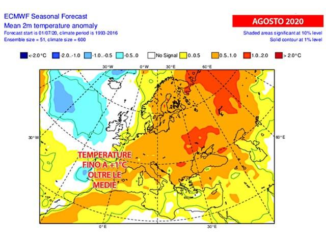 Caldo in aumento: temperature fino a +1°C rispetto alle medie climatiche