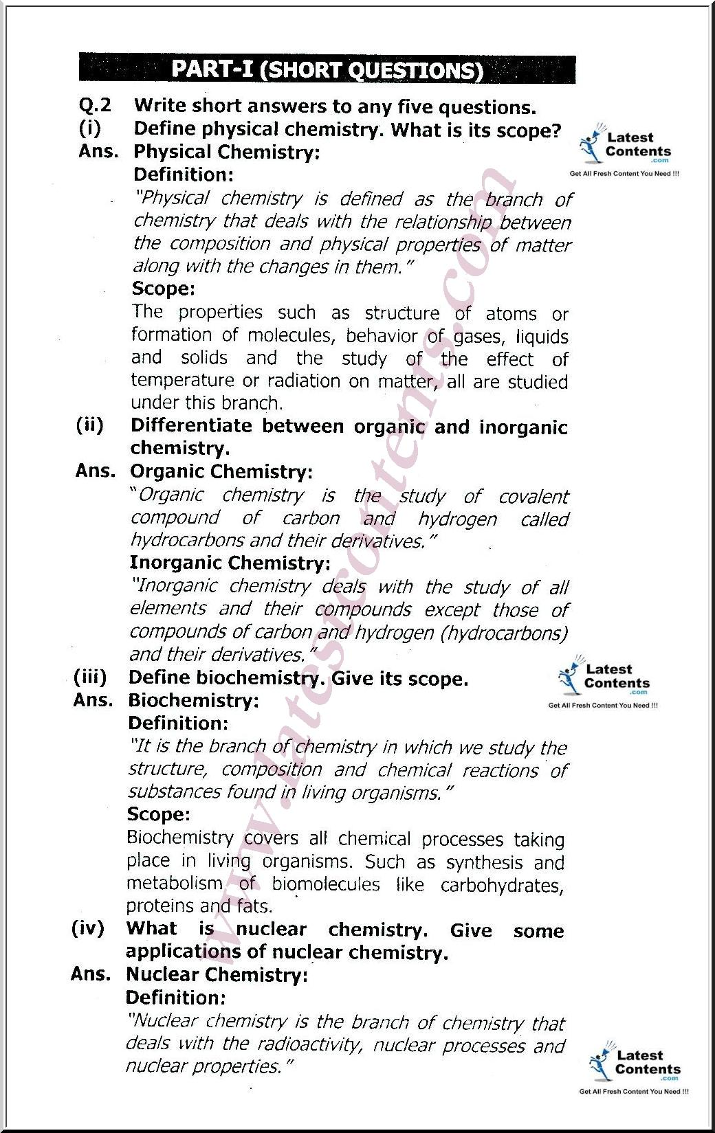9th Class Chemistry Notes Important Short Questions Amp Mcqs