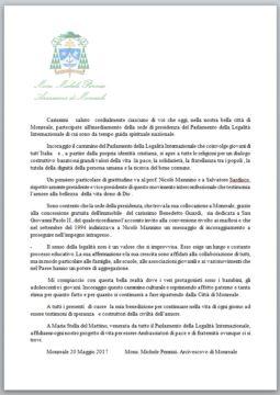Parlamento della Legalità -  lettera Monsignor Pennisi