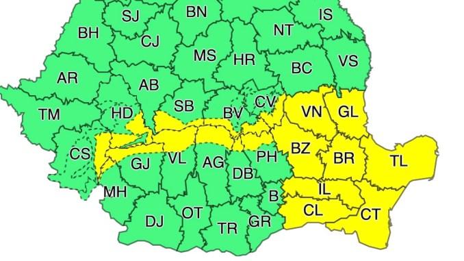 Harta cu zonele afectate de Codul Galben de vânt. FOTO ANM
