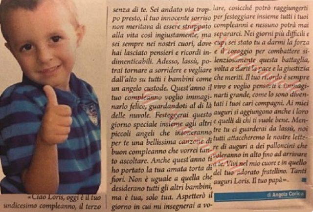 Andrea Stival scrive al piccolo Loris [Immagine tratta dal Settimanale Giallo]