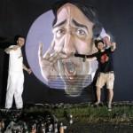 Il murales di Macs con l'artista e Andrea Di Monte