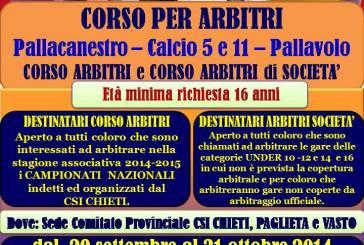 Il CSI Chieti organizza i corsi per arbitro di Pallacanestro, Calcio 5 e 11 e Pallavolo