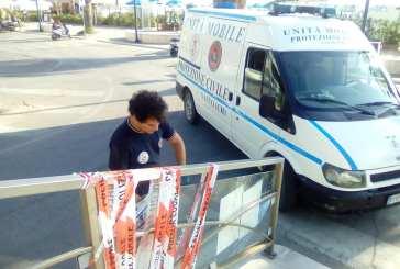 Vetrate infranti a Vasto Marina, intervento della Protezione Civile