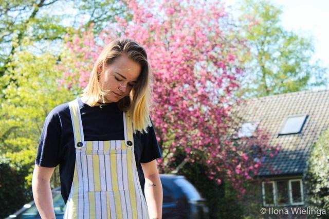 outfit 3 tuinbroek forever 21 geel met blauw