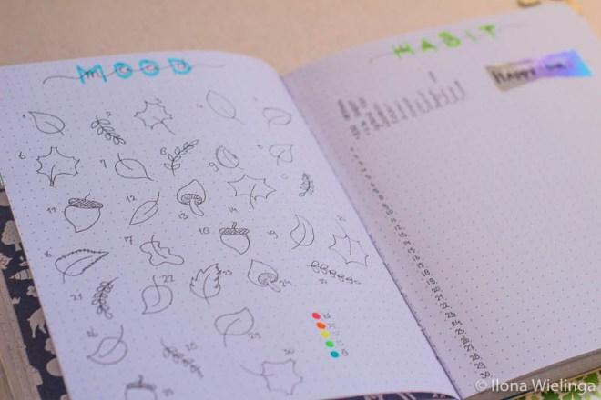 bullet journal september autumn herfst maandoverzicht moodtracker habittracker school