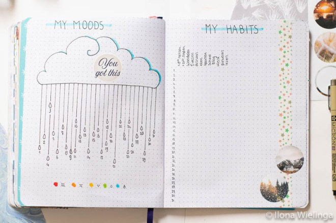 bullet journal set-up januari 2020 mood tracket habit tracker