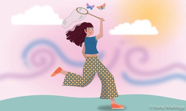 catching butterflies illustratie samen erdoorheen