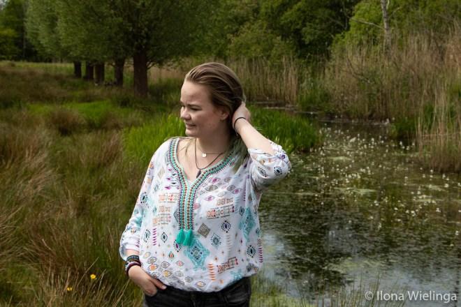 vintage blouse kringloop aztec look 8