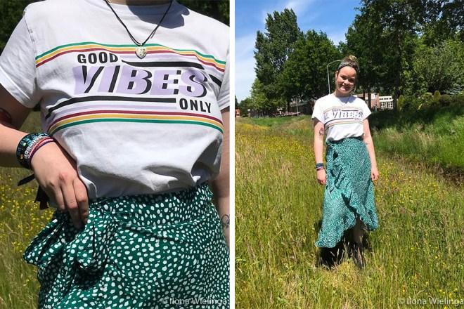 groene midirok shein outfit 1