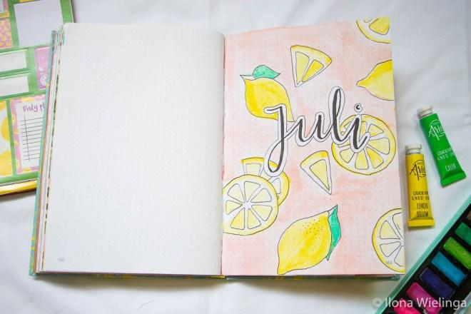 bullet journal juli citroenen lemons