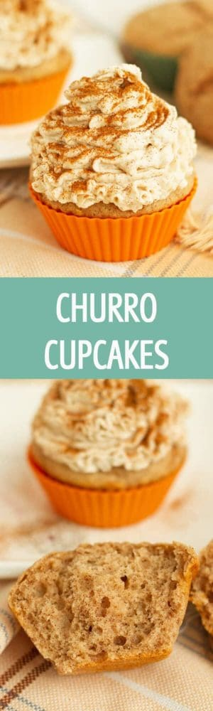 Churro Cupcakes recipe made with lots of cinnamon and mascarpone and whipped cream frosting. Great for fiesta , birthday, or any other party! by ilonaspassion.com I @ilonaspassion