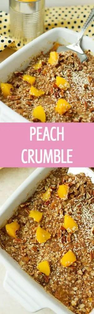 Healthy Peach Crumble recipe with coconut sugar , peaches, cinnamon and oats. Great breakfast, brunch or dessert idea. by ilonaspassion.com I @ilonaspassion #ad