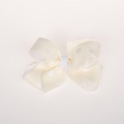 Τσιμπιδάκι κλιπ, εκρού, λευκό πουά