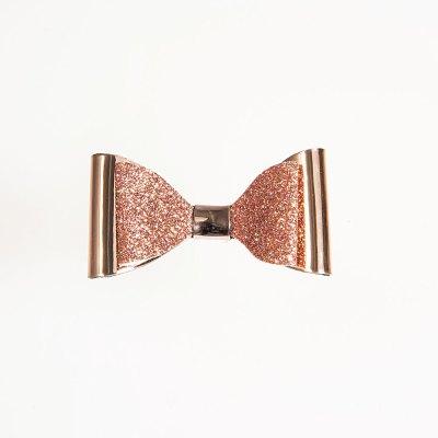 Τσιμπιδάκι κλιπ, mirror – glitter, ροζ – χρυσό