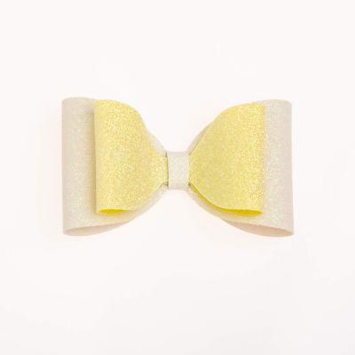 Tσιμπιδάκι κλιπ, γκλίτερ άσπρο, κίτρινο