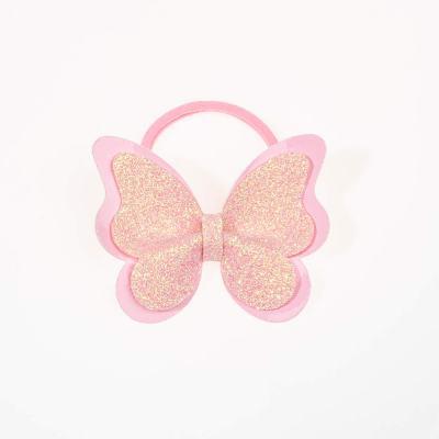 Tσιμπιδάκι κλιπ, πεταλούδα, γκλίτερ, δερματίνη ροζ