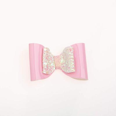 Tσιμπιδάκι κλιπ, γκλίτερ άσπρο-ροζ, λουστρίνι ροζ