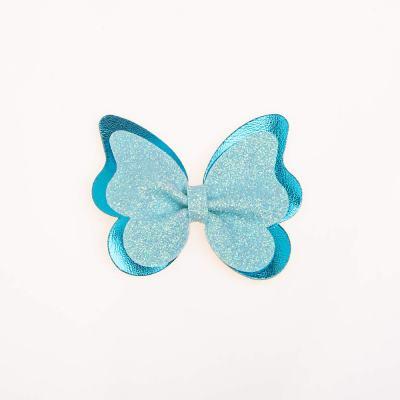 Tσιμπιδάκι κλιπ, πεταλούδα, γκλίτερ γαλάζιο,δερματίνη μπλε