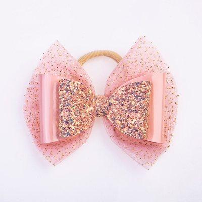 Λαστιχάκι, τούλι ροζ-χρυσό γκλίτερ, δερματίνη ροζ, γκλίτερ σομόν