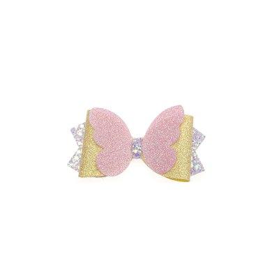 Τσιμπιδάκι, κλιπ, πεταλούδα ροζ, γκλίτερ κίτρινο, μύτες λιλά