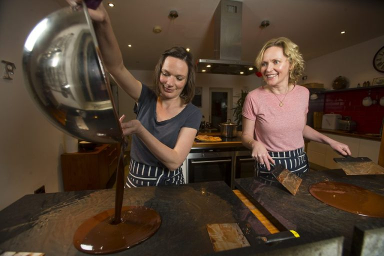 Natalie and Karen Keane from Bean & Goose homemade craft chocolate are in Ferns, Co Wexford. Pictured tempering the chocolate. Picture: Patrick Browne