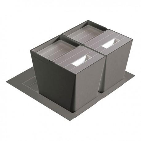 poubelle cuisine pour tiroir 600 mm 2 bacs 32 litres