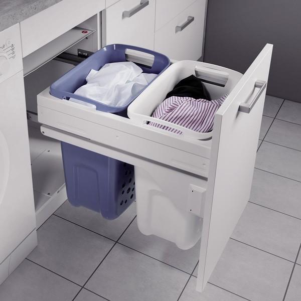 panier a linge 2 bacs coulissant pour meuble de 450 mm