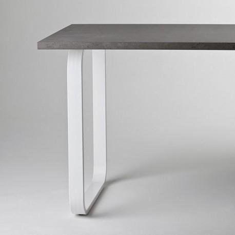 pied de table peninsule rectangle arrondi blanc 820 mm
