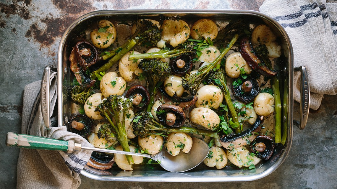 Mushroom & Broccoli Cracked Baby Potato Bake With Garlic Butter