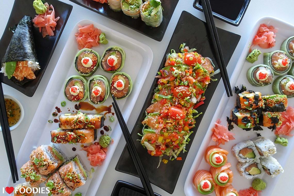 Shibui Sushi selection - salmon hand roll, salmon roses, sushi salad, rice-free rolls, salmon california rolls