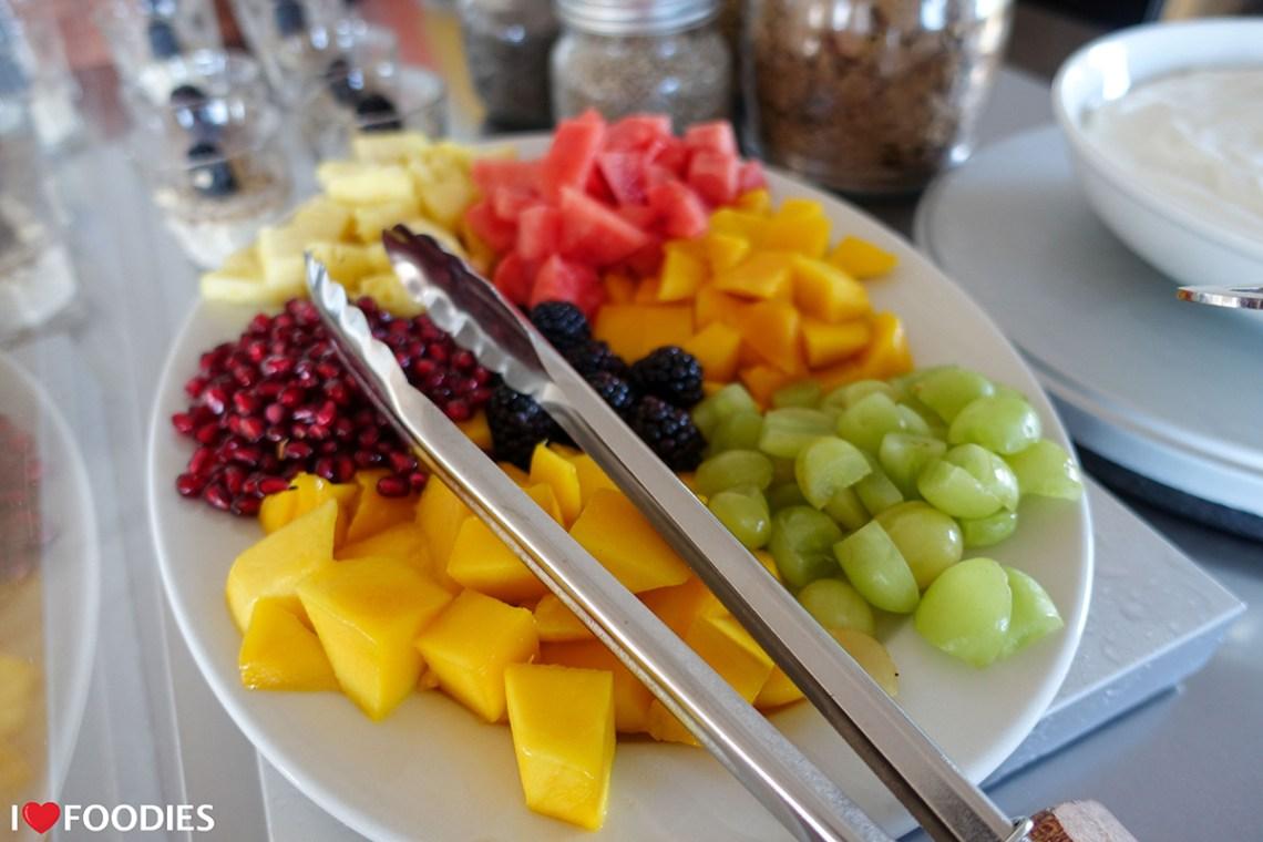 Fruit platter at Gonana Guesthouse breakfast buffet