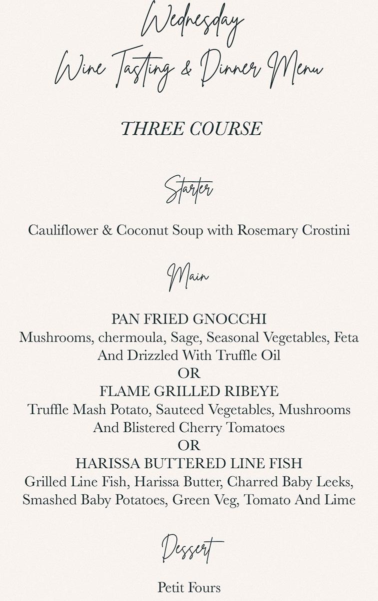 Harringtons Cocktail Lounge Wednesday wine tasting & dinner menu