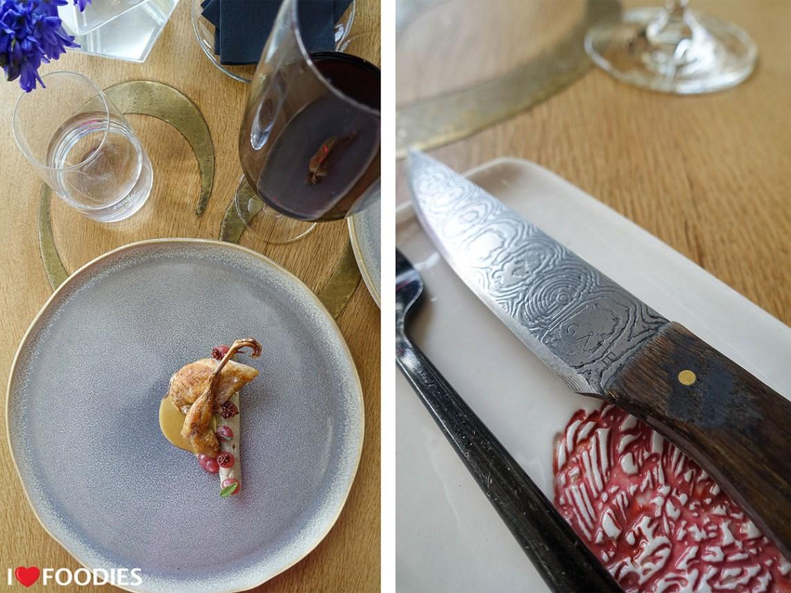 Quail with unique Gate Restaurant knife