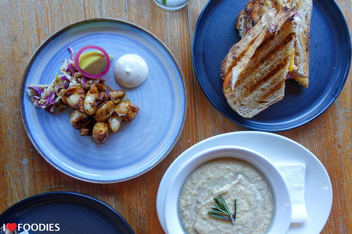 The Eatery Wood Fired Grill tapas dishes - plancha-grilled squid, tomato and cheese toastie, cauliflower & bacon soup