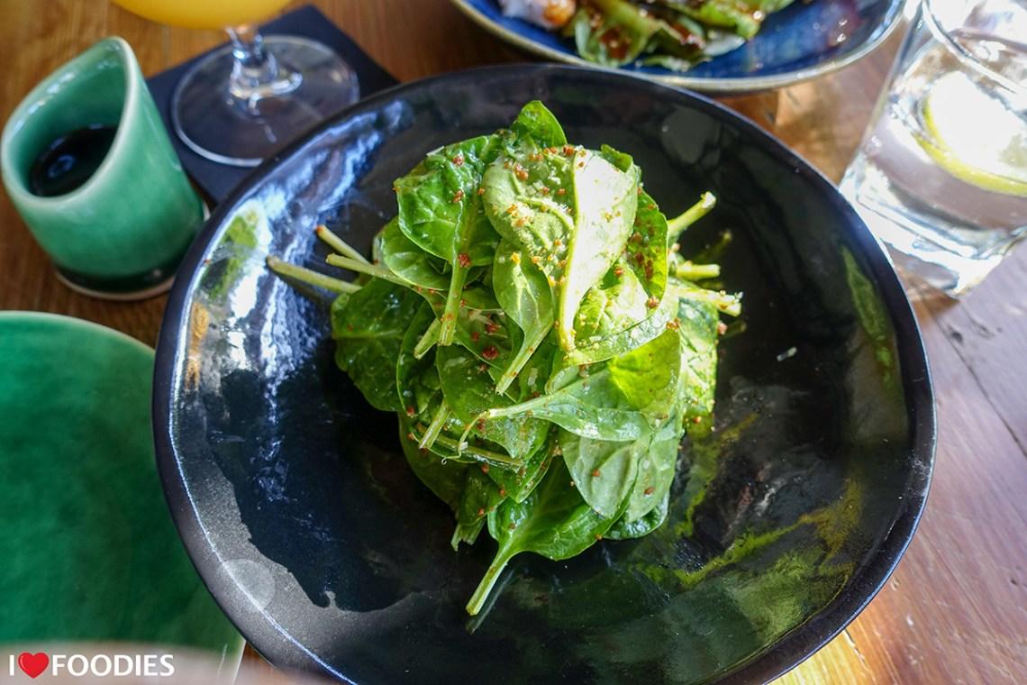 Restaurant Boujee spinach salad