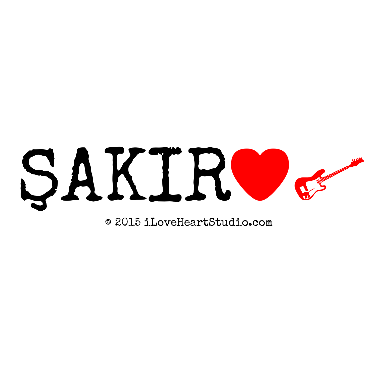 Akir Love Heart Electric Guitar Design On T Shirt