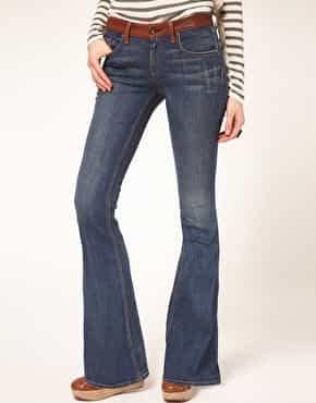 rag & bone/JEAN Flare With Leather Waist Detail Vintage Wash £250.00 NOW £75.00