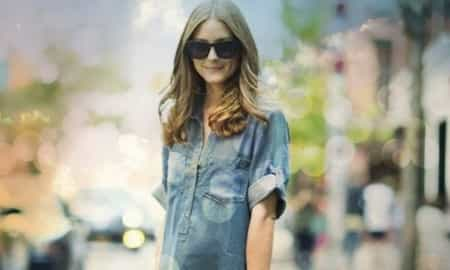 olivia Palermo, denim shirt, Gap