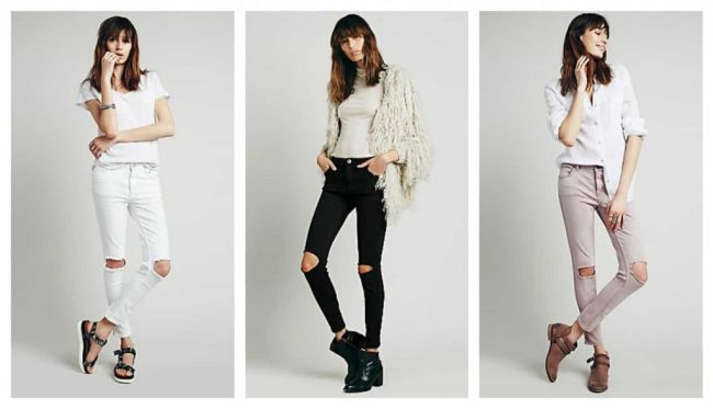 free people distroyed jeans, soft colours, white, black, dusky pink
