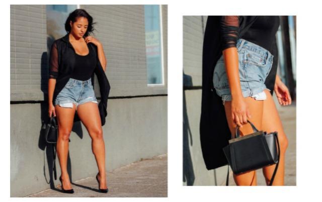 curvy denim shorts